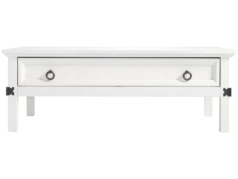Table basse rectangulaire 1 tiroir + 1 tagre VITORIA coloris blanc