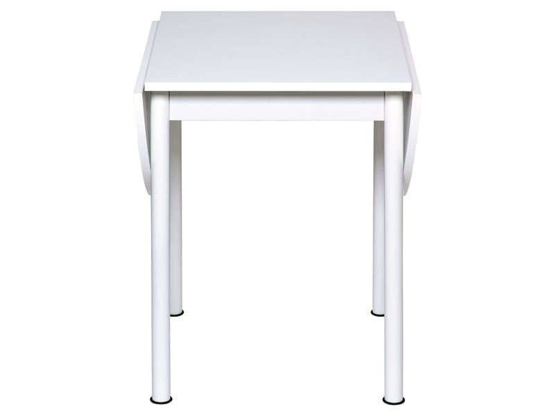 Table avec allonges rabattables flipp coloris blanc for Table de cuisine ronde chez conforama