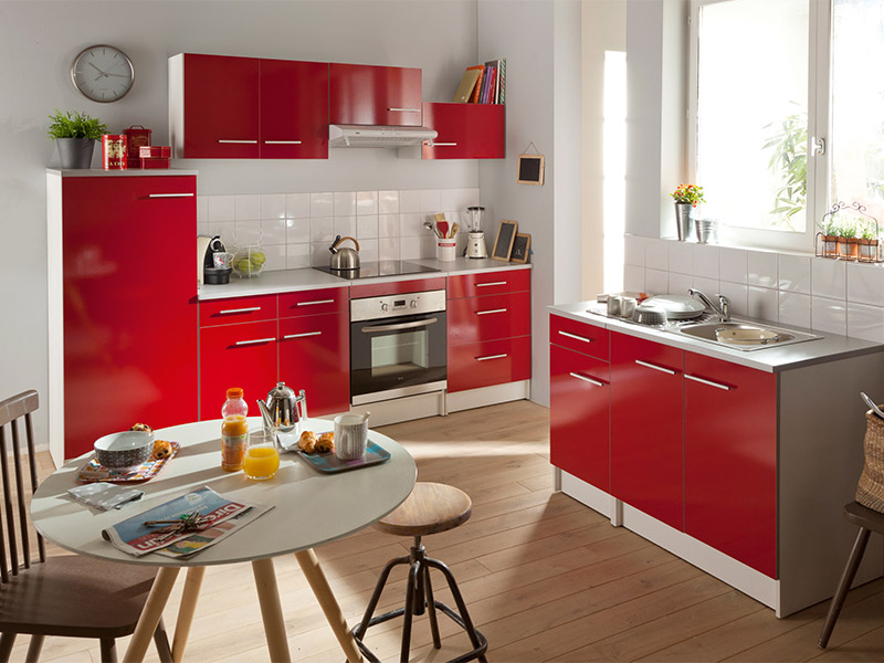 cuisine spoon shiny coloris rouge vente de les cuisines. Black Bedroom Furniture Sets. Home Design Ideas