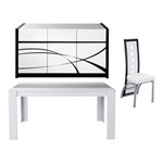 Ensemble buffet DALLAS + table RICO + 4 chaises BRIGHT