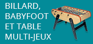 Billard, babyfoot et table multi-jeux